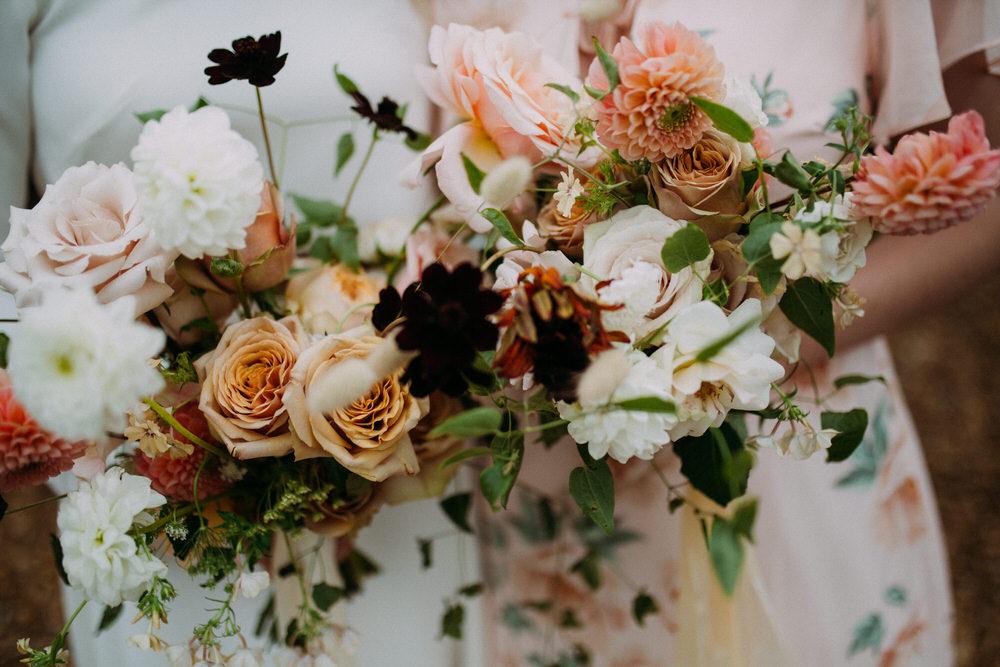Bouquet Flowers Bride Bridal Earthy Nude Rose Dahlia Pennard Hill Farm Wedding MT Studio