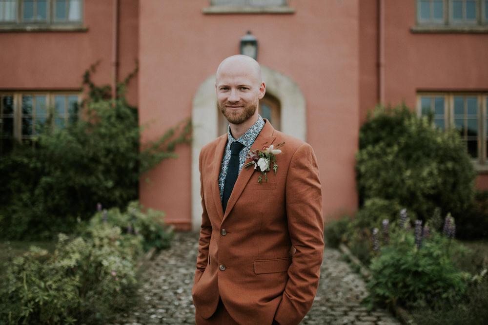 Groom Suit Rust Print Shirt Tie Buttonhole Flowers Pennard Hill Farm Wedding MT Studio