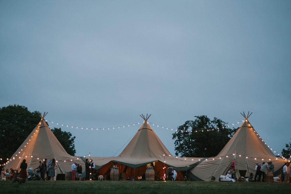 Tipi Lighting Lights Fairy Lights Pennard Hill Farm Wedding MT Studio