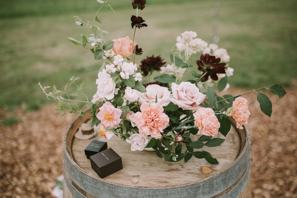 Wooden Barrel Flowers Outdoor Pennard Hill Farm Wedding MT Studio