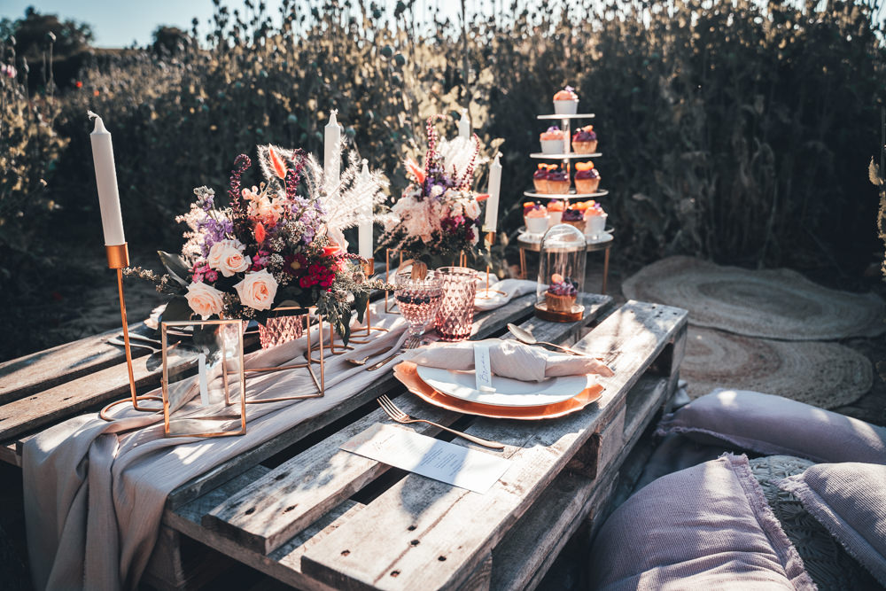 Wooden Pallet Table Tablescape Decor Flowers Candles Rustic Poppy Field Wedding NT Creatives