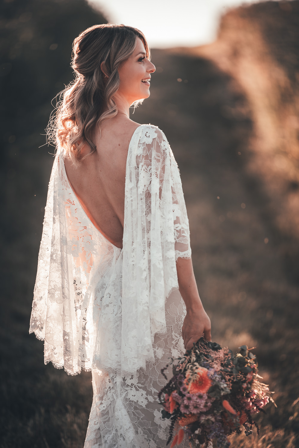 Dress Gown Bride Bridal Lace Sleeves Lillian West Boho Bohemian Poppy Field Wedding NT Creatives