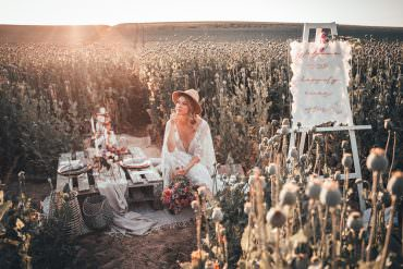 Boho Poppy Field Wedding Ideas at Sunset