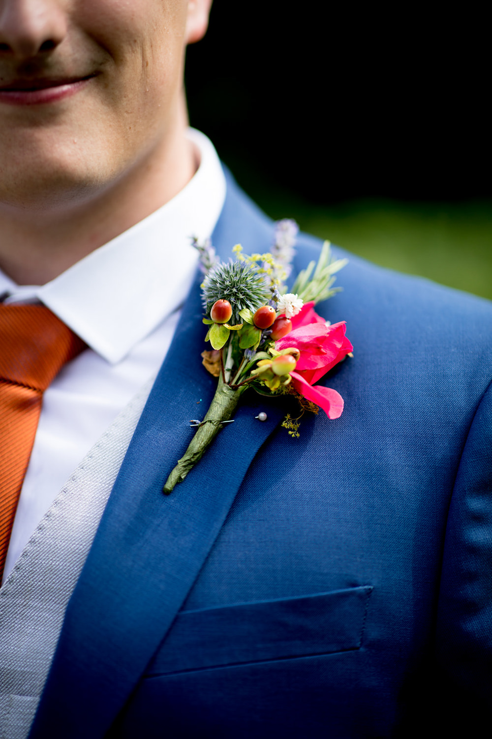 Groom Buttonhole Flowers Pythouse Kitchen Garden Wedding Jessica Hayman Photography