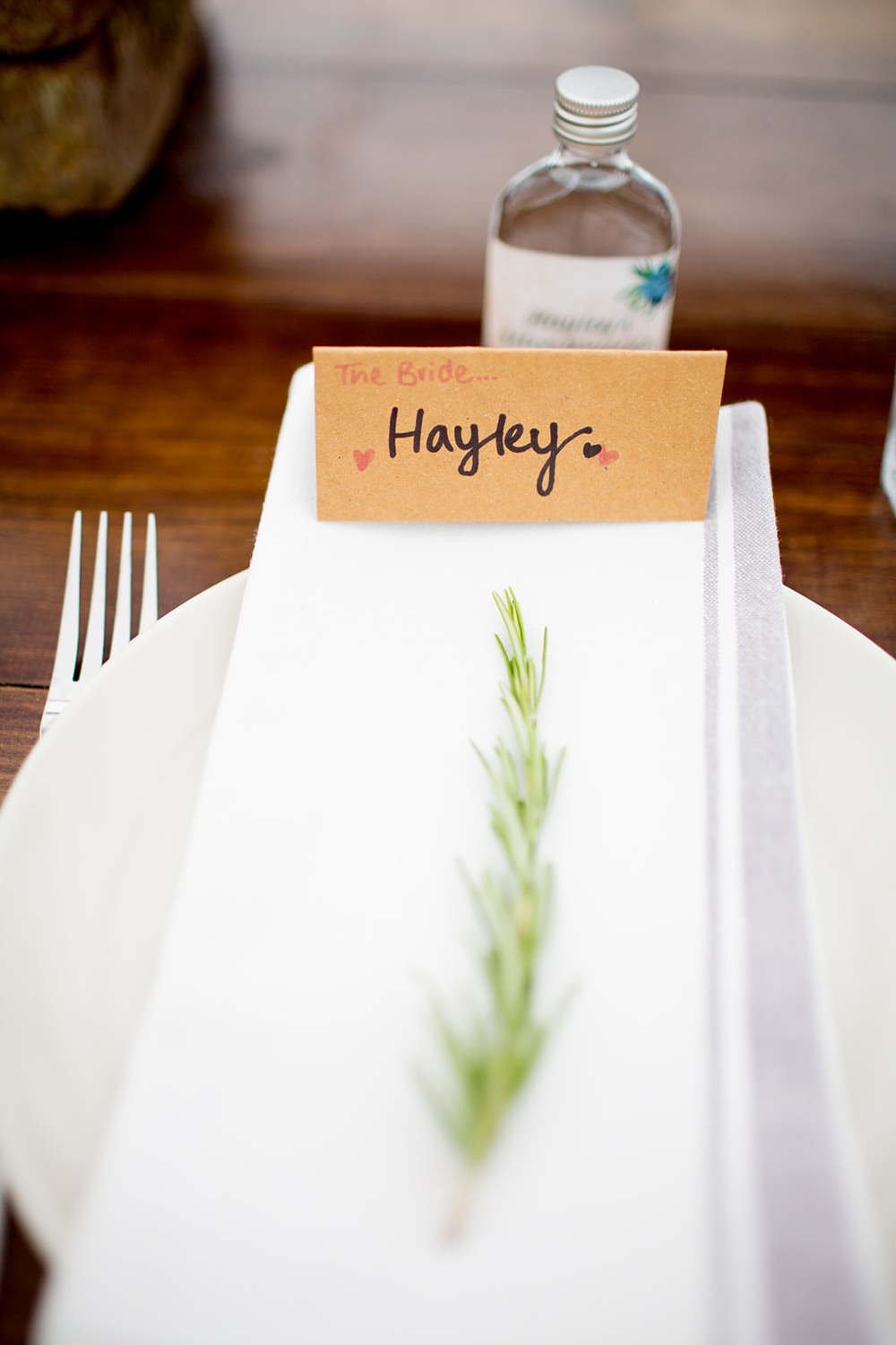 Place Setting Rosemary Place Name Pythouse Kitchen Garden Wedding Jessica Hayman Photography