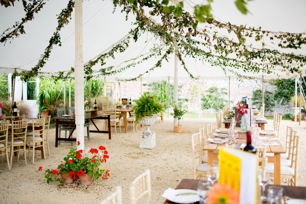 Open Side Marquee Tent Long Wooden Tables Decor Greenery Foliage Pythouse Kitchen Garden Wedding Jessica Hayman Photography