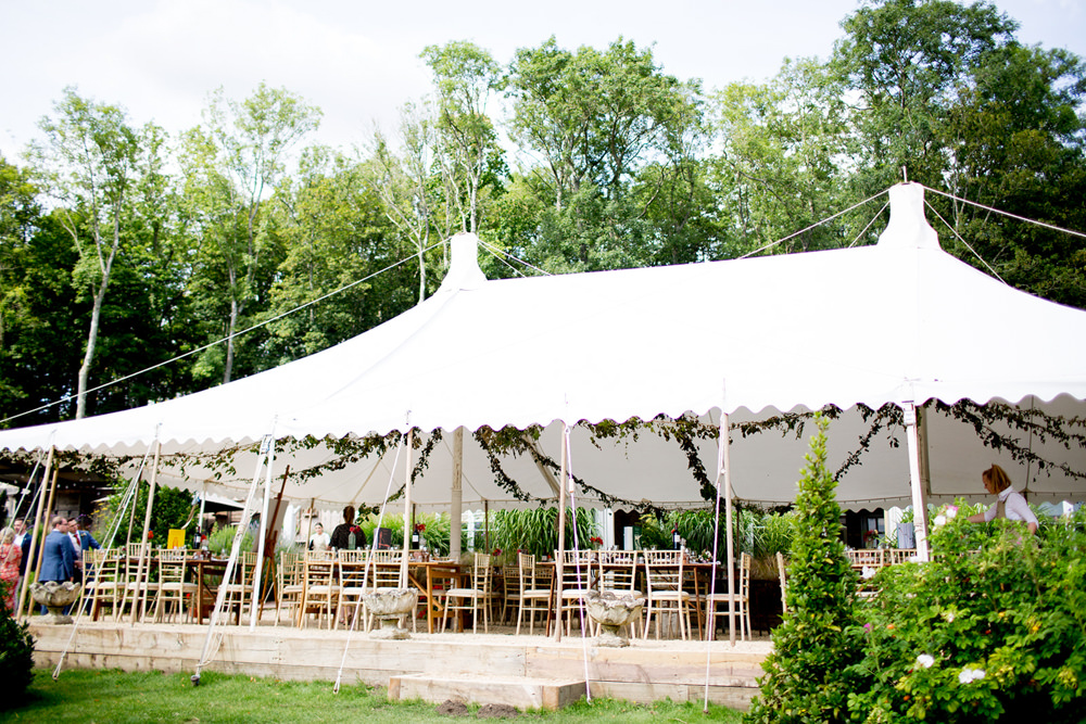 Open Side Marquee Tent Long Wooden Tables Decor Pythouse Kitchen Garden Wedding Jessica Hayman Photography