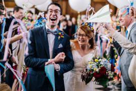 Royal Hospital Chelsea Wedding Kristian Leven Photography Confetti Flags Ribbon Wands