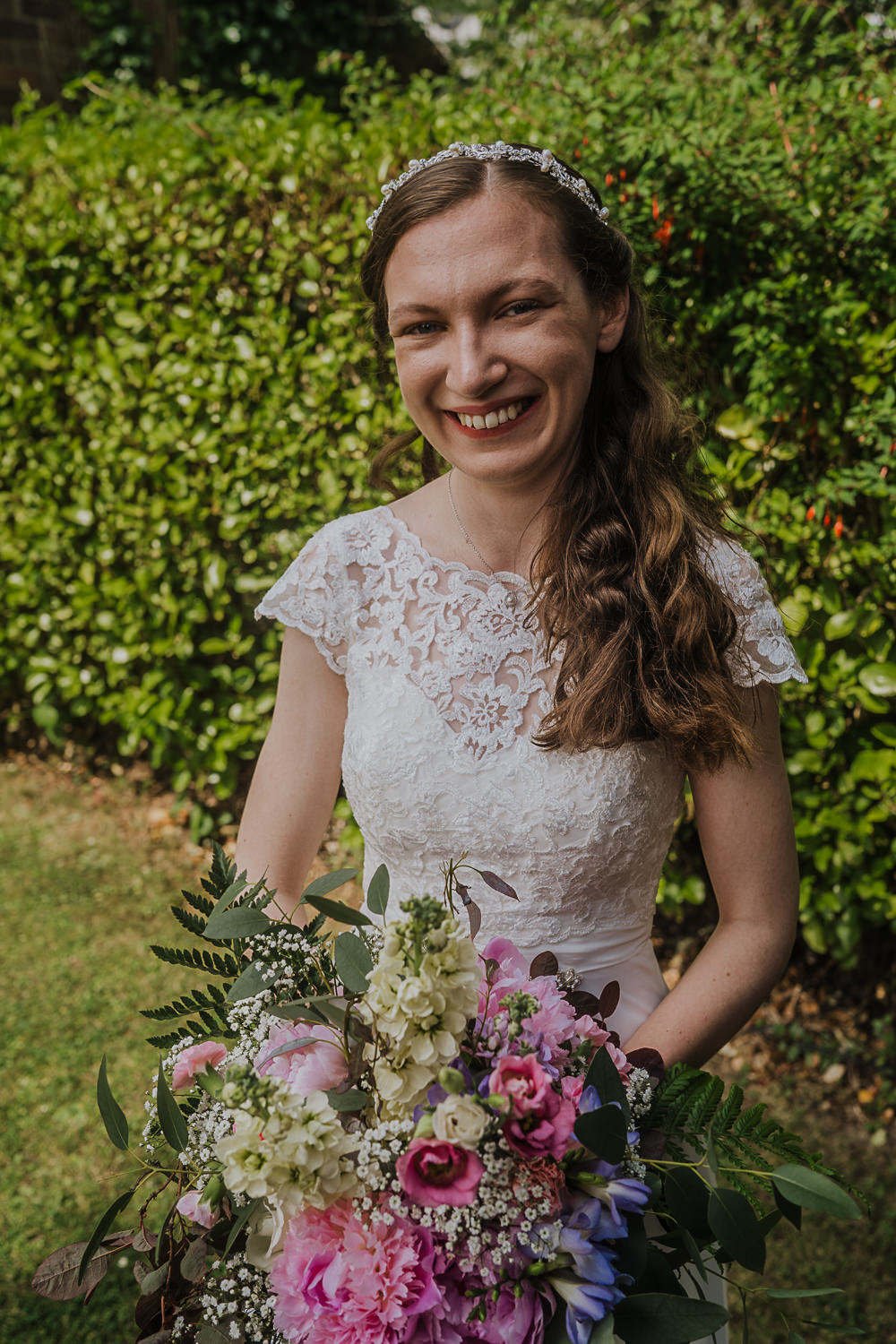 Dress Gown Bride Bridal Lace Cap Sleeves Wed2B Socially Distanced Wedding Tiffany Gage Photography