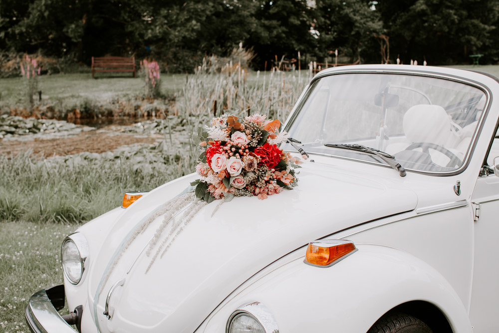 VW Beetle Transport Car Whimsical Wedding Ideas Charlotte Lucy Photography