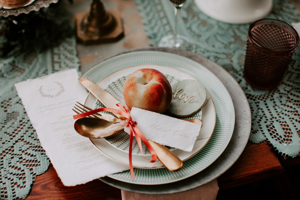 Place Setting Decor Cutlery Apple Ribbon Whimsical Wedding Ideas Charlotte Lucy Photography