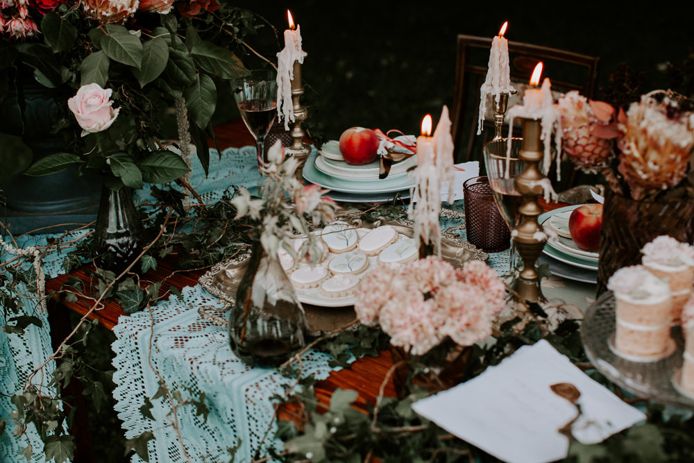 Table Tablescape Candles Ivy Festoon Lights Vintage Lampshades Table Cloths Whimsical Wedding Ideas Charlotte Lucy Photography
