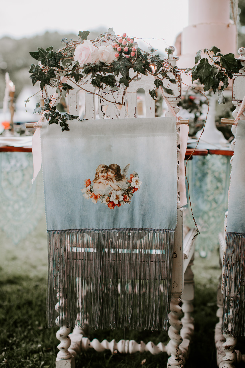 Chair Banner Sign Cherub Whimsical Wedding Ideas Charlotte Lucy Photography
