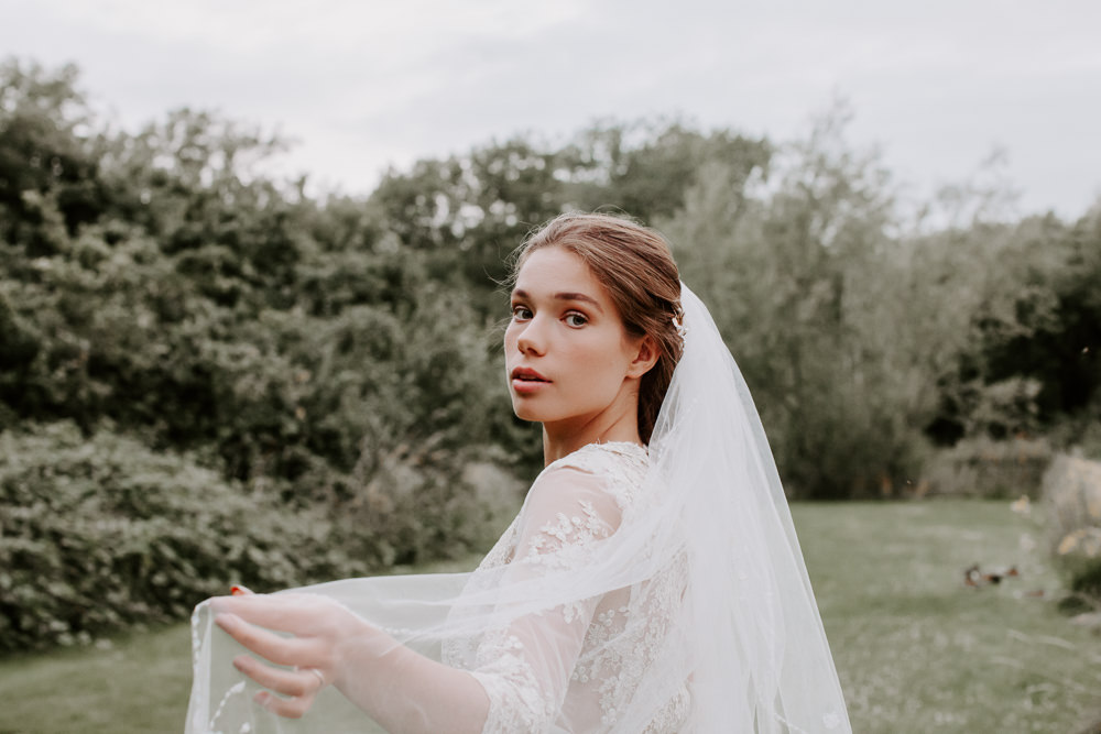 Bride Bridal Dress Gown SH Brides Lace Sleeves Veil Whimsical Wedding Ideas Charlotte Lucy Photography
