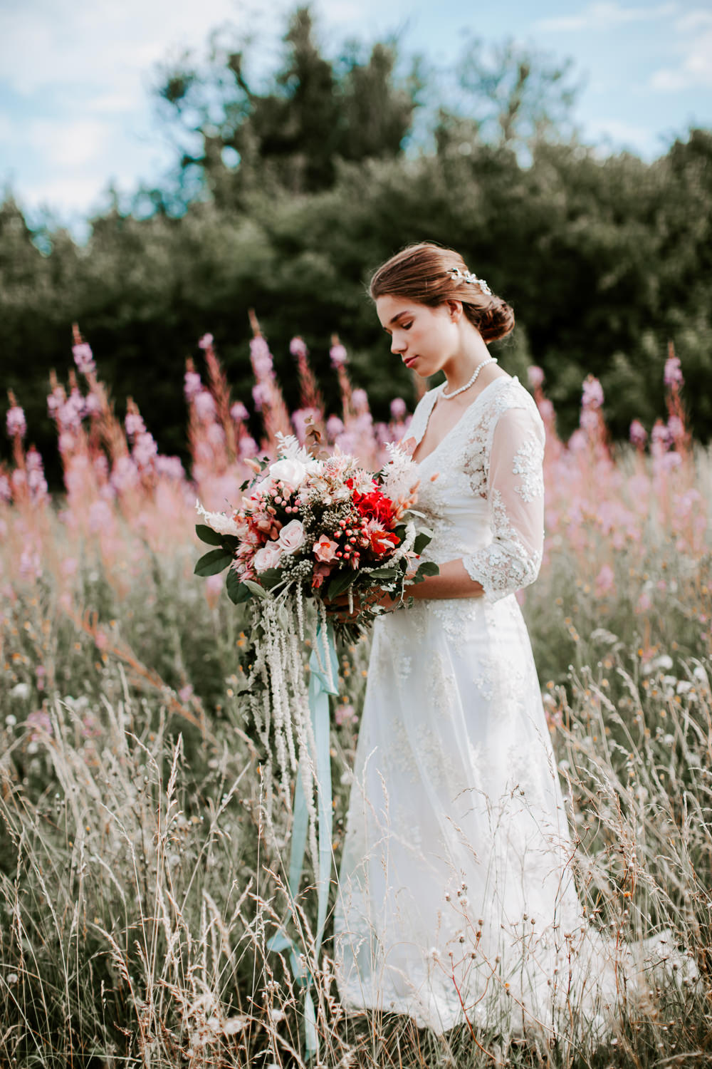 Bouquet Flowers Bride Bridal Red Pink Rose Ribbons Hydrangea Berries Whimsical Wedding Ideas Charlotte Lucy Photography