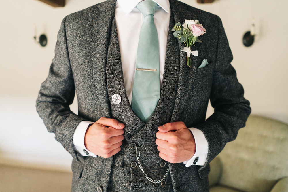 Groom Grey Tweed Suit Green Tie Buttonhole Flowers Castle View Wedding Sally T Photography