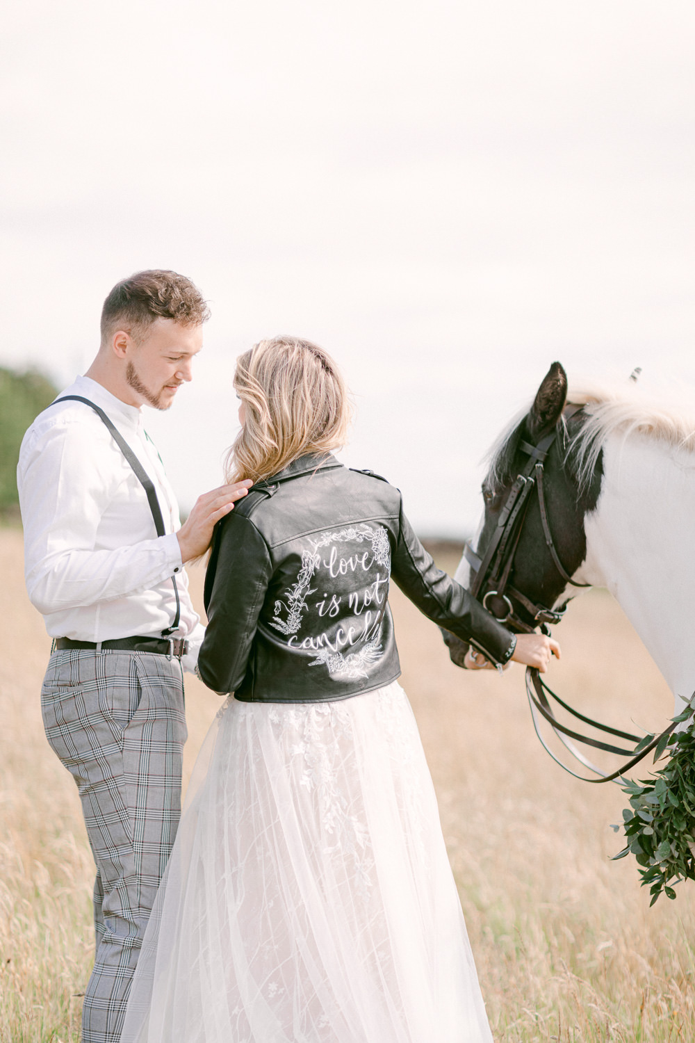 Leather Jacket Painted Bride Bridal Family Elopement Ideas Sophie May Photo