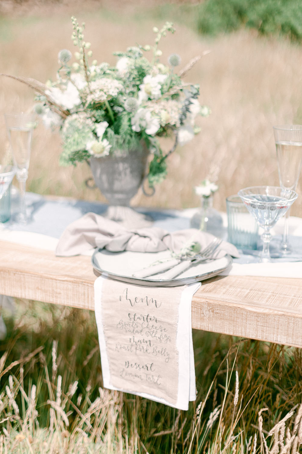 Linen Menu Calligrphy Family Elopement Ideas Sophie May Photo