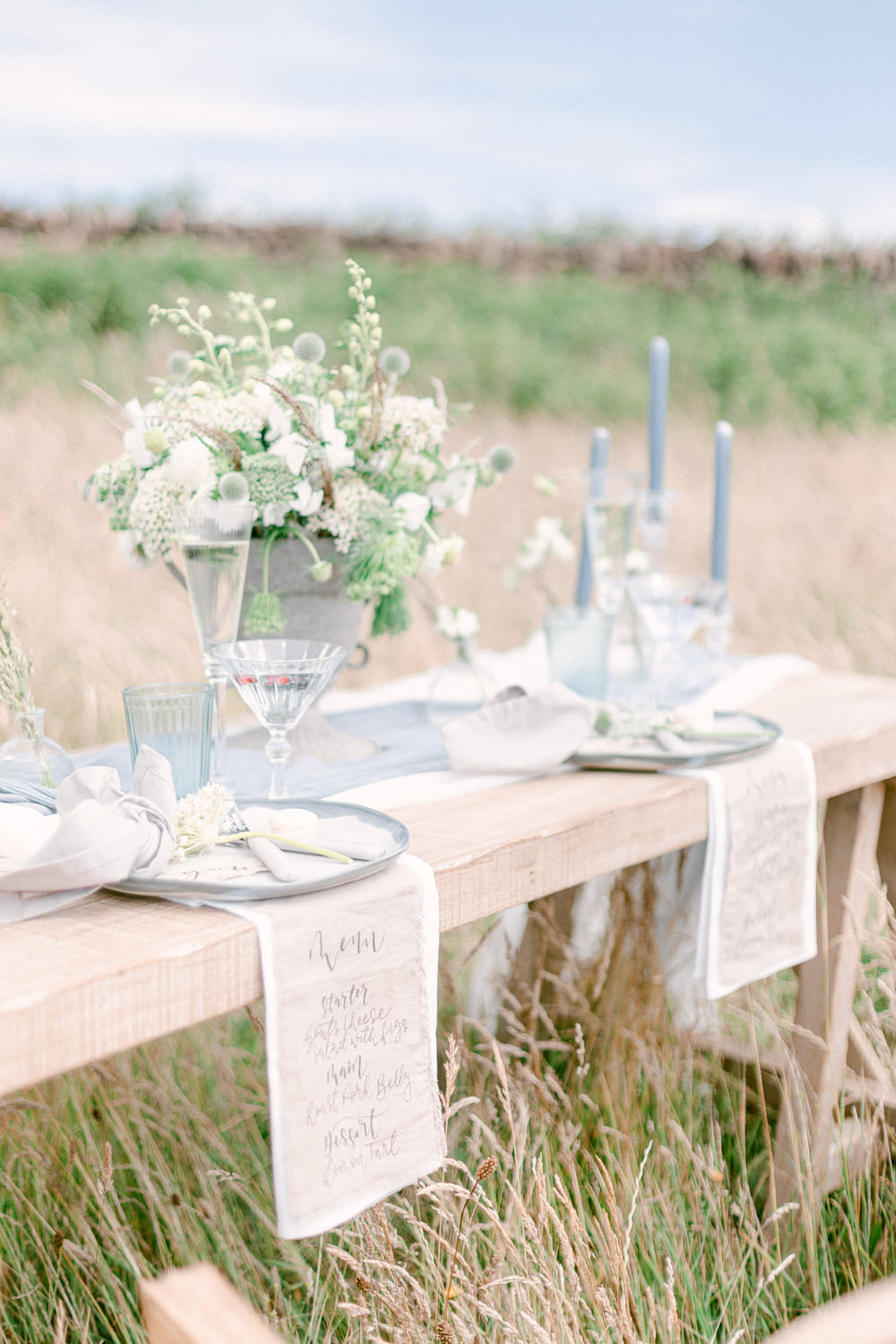Table Tablescape Decor Flowers Candles Blue Family Elopement Ideas Sophie May Photo