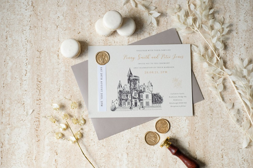 Splendid Swan Wedding Stationery Invite Invitation Illustrated Wax Seal