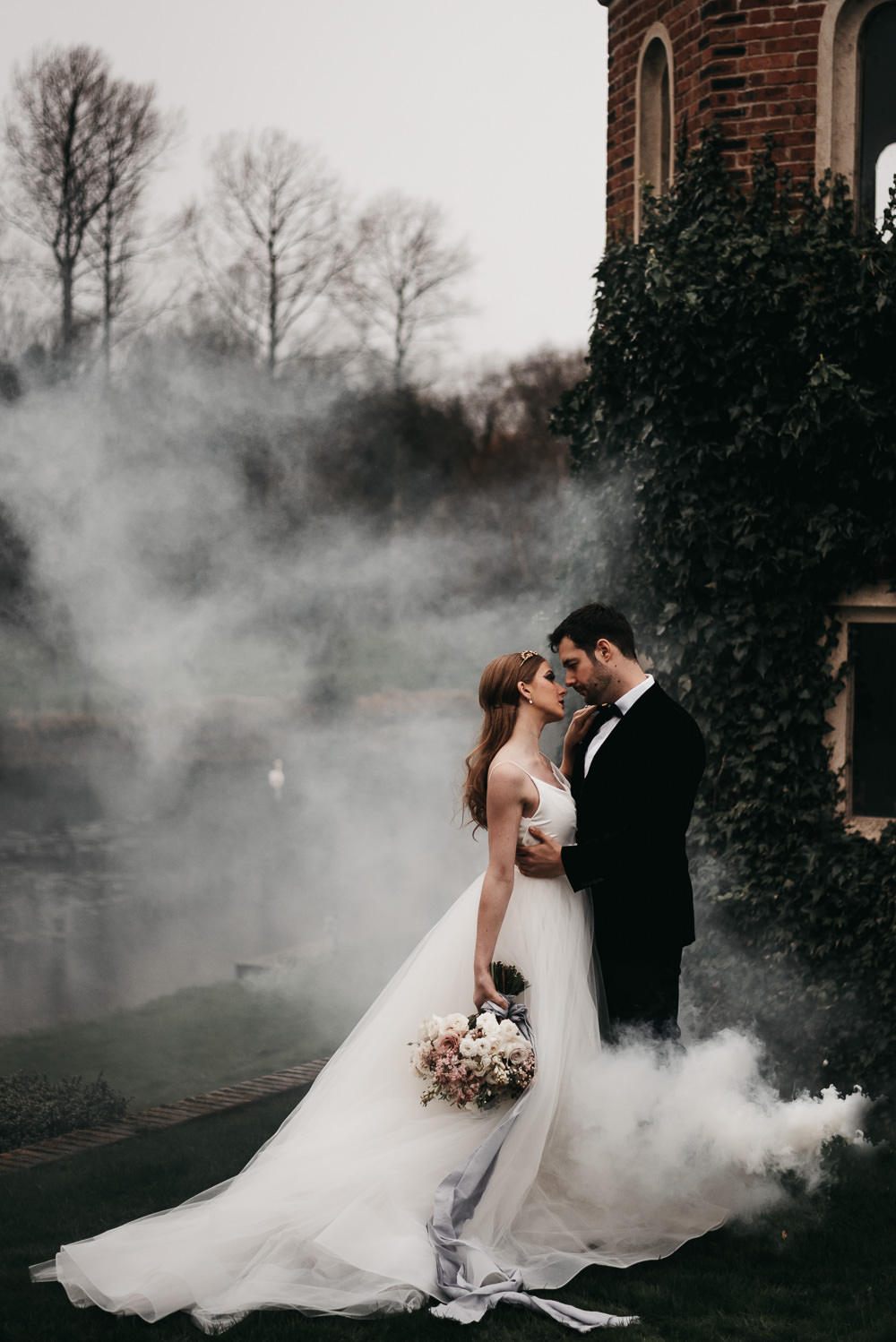 Atmospheric & Wintry Swan Lake Wedding Ideas