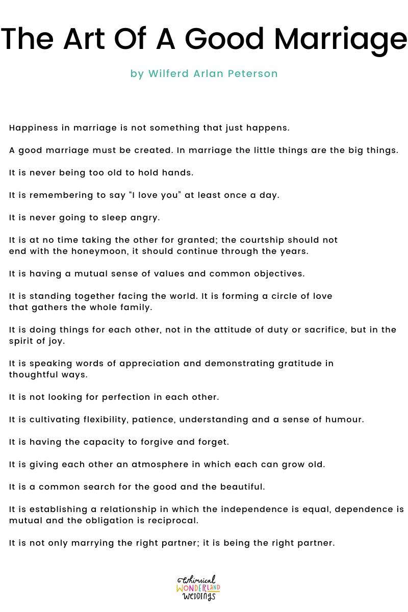 Wedding Readings – The Art Of A Good Marriage by Wilferd Arlan Peterson